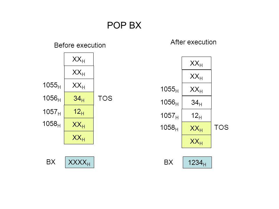 POP BX 1234 H BX Before execution 1058 H XX H 34 H 12 H XX H 1057 H 1056 H 1055 H TOS After execution 1058 H XX H 34 H 12 H XX H 1057 H 1056 H 1055 H