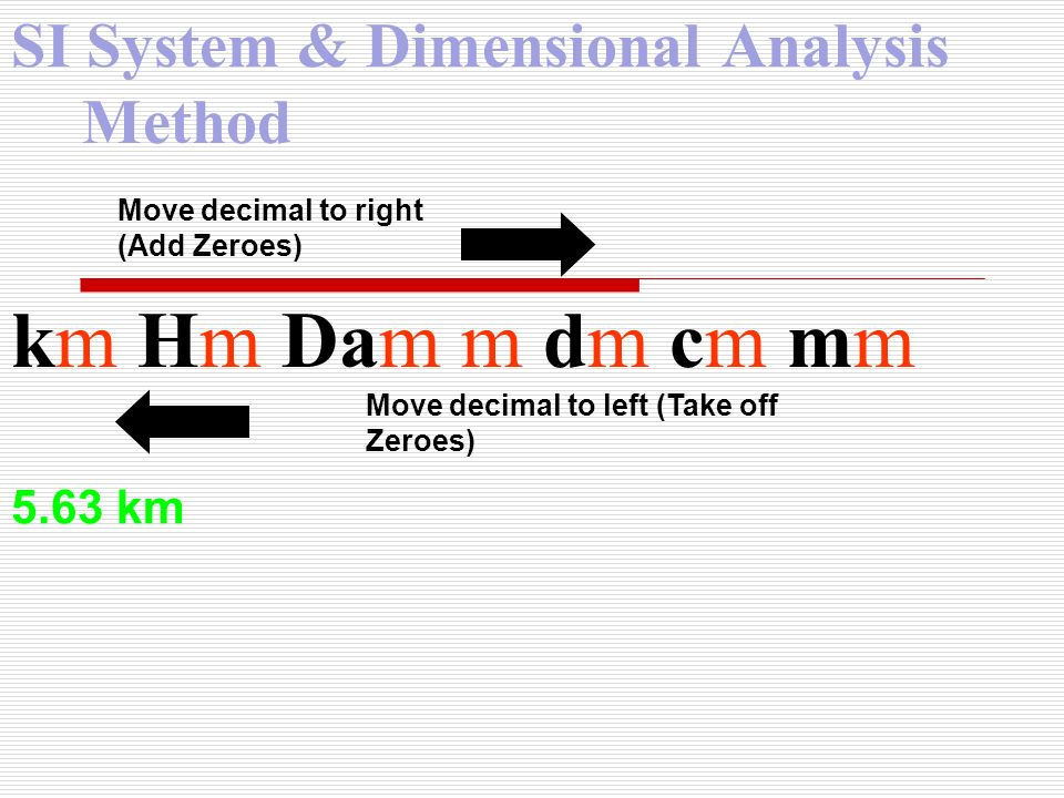 SI System & Dimensional Analysis Method km Hm Dam m dm cm mm Move decimal to right (Add Zeroes) Move decimal to left (Take off Zeroes) 5.63 km