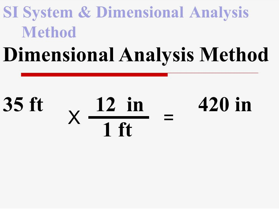 SI System & Dimensional Analysis Method Dimensional Analysis Method 35 ft 12 in 420 in 1 ft X =