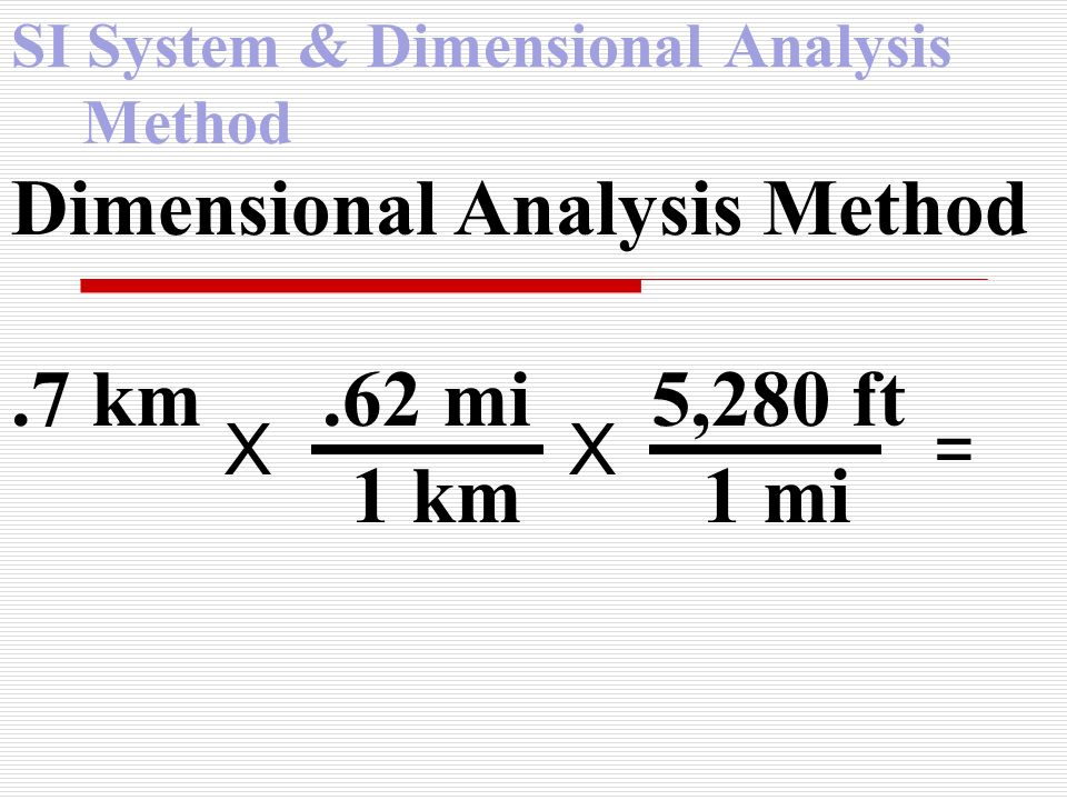 SI System & Dimensional Analysis Method Dimensional Analysis Method.7 km.62 mi 5,280 ft 1 km 1 mi X X =