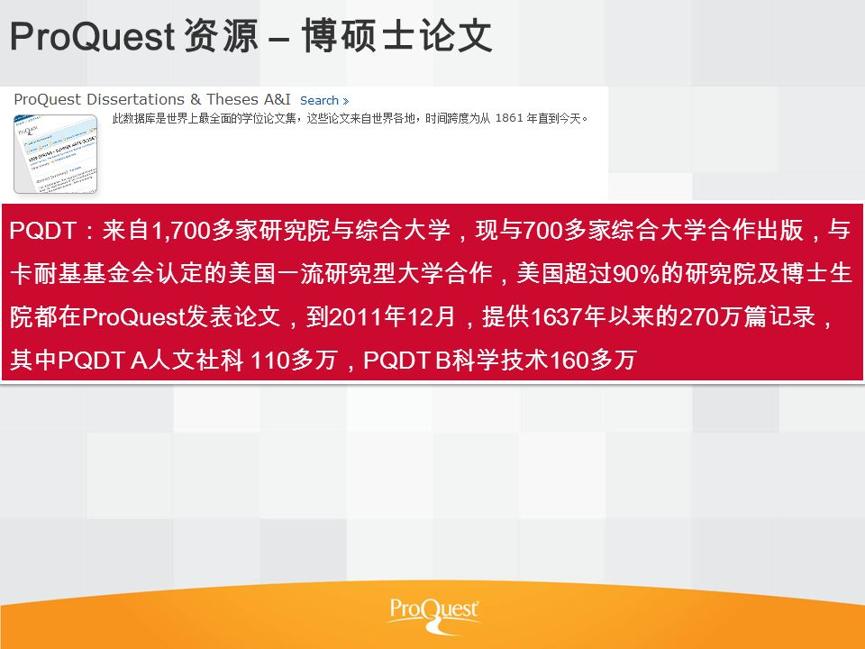 ProQuest – PQDT 1,700 700 90% ProQuest 2011 12 1637 270 PQDT A 110 PQDT B 160
