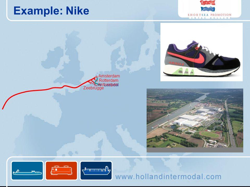 Example: Nike Laakdal Antwerpen Rotterdam Amsterdam Zeebrugge