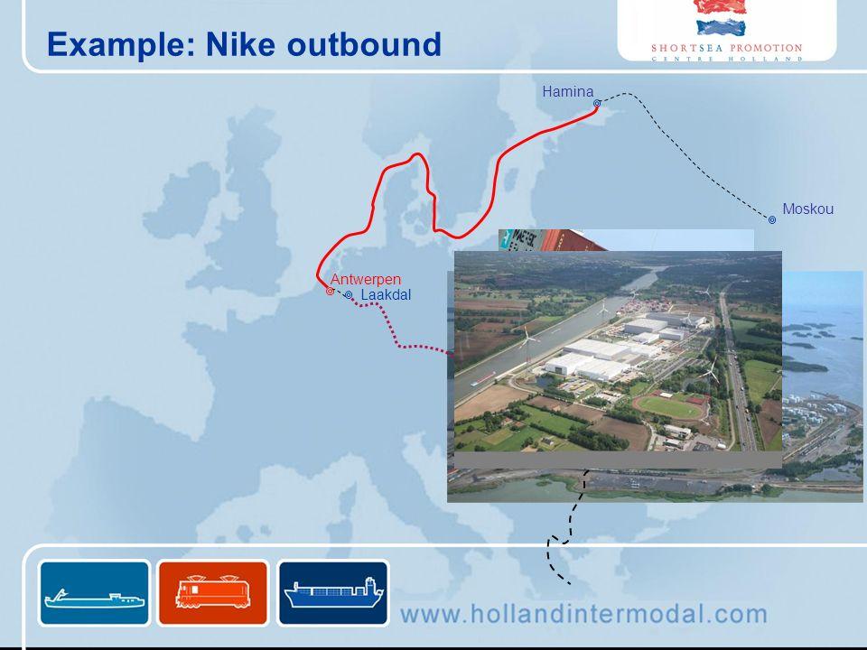 Example: Nike outbound Laakdal Antwerpen Hamina Moskou Oradea