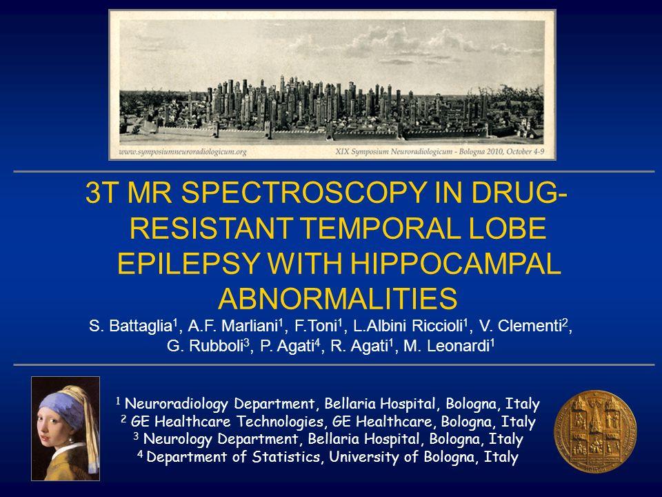 3T MR SPECTROSCOPY IN DRUG- RESISTANT TEMPORAL LOBE EPILEPSY WITH HIPPOCAMPAL ABNORMALITIES S. Battaglia 1, A.F. Marliani 1, F.Toni 1, L.Albini Riccio