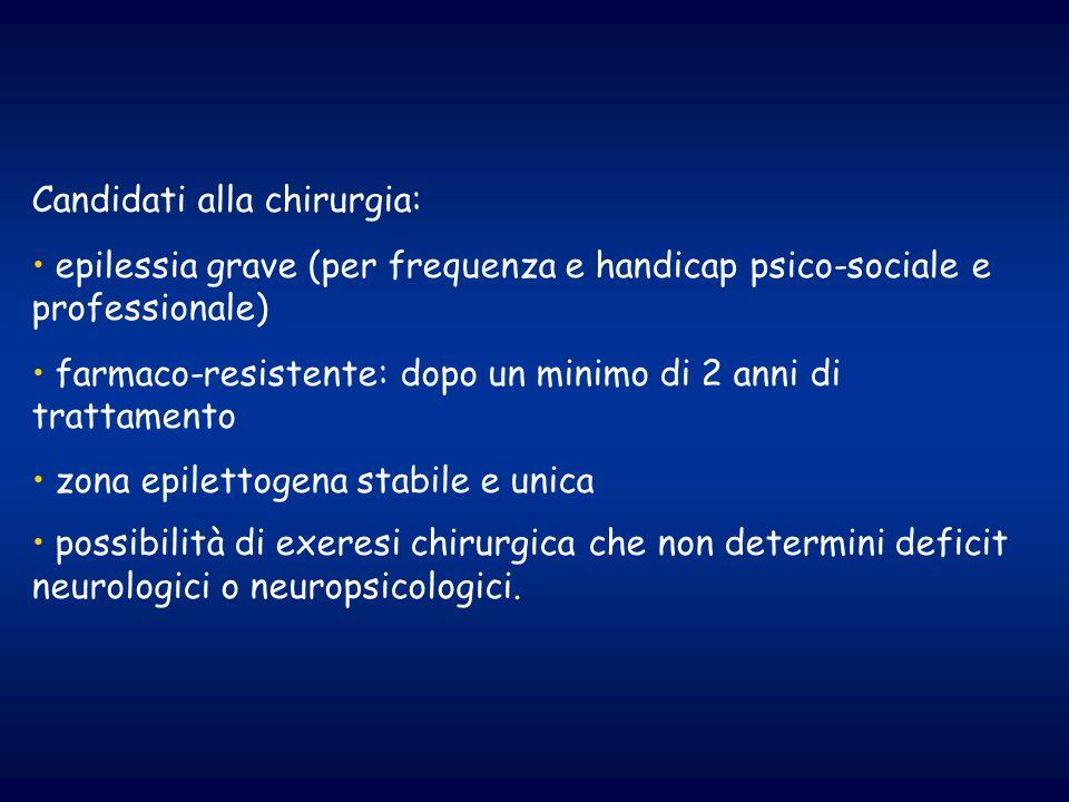 Candidati alla chirurgia: epilessia grave (per frequenza e handicap psico-sociale e professionale) farmaco-resistente: dopo un minimo di 2 anni di tra
