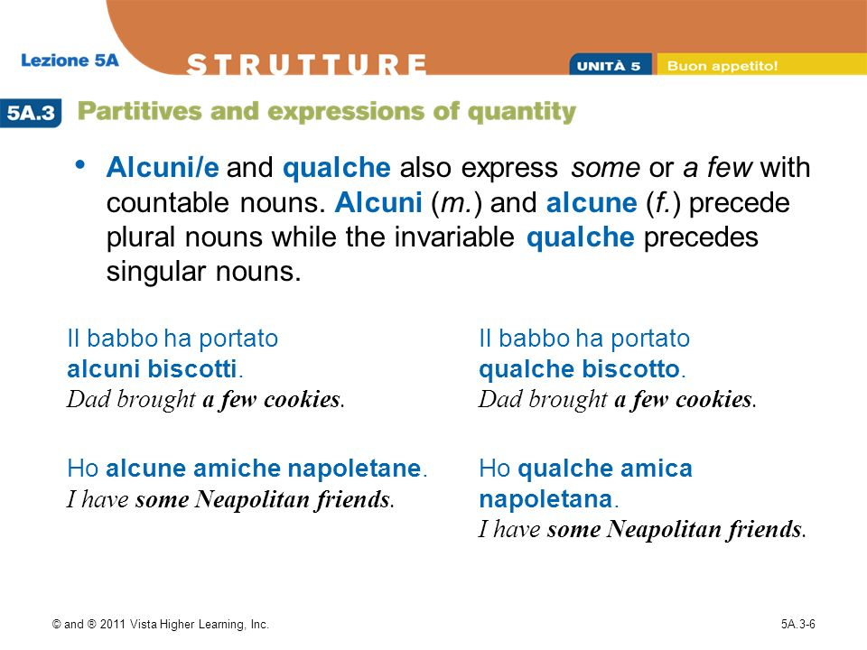 © and ® 2011 Vista Higher Learning, Inc.5A.3-6 Alcuni/e and qualche also express some or a few with countable nouns. Alcuni (m.) and alcune (f.) prece