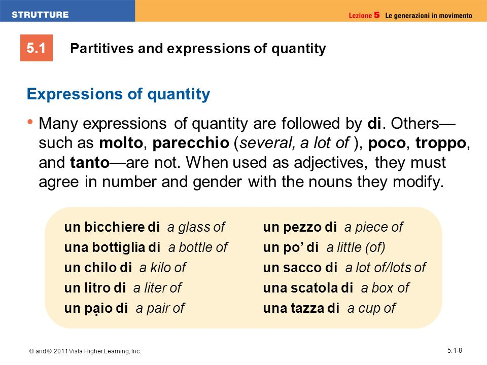 5.1 © and ® 2011 Vista Higher Learning, Inc. 5.1-8 Expressions of quantity Many expressions of quantity are followed by di. Others such as molto, pare