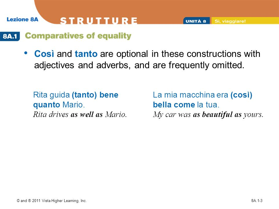 © and ® 2011 Vista Higher Learning, Inc.8A.1-3 Così and tanto are optional in these constructions with adjectives and adverbs, and are frequently omitted.