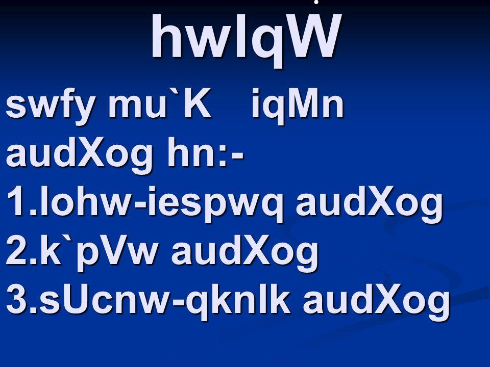 swfy mu`K iqMn audXog hn:- 1.lohw-iespwq audXog 2.k`pVw audXog 3.sUcnw-qknIk audXog.hwlqW