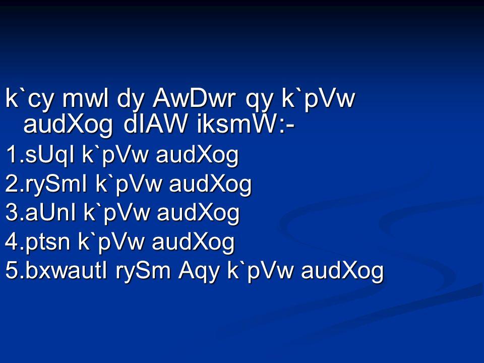 k`cy mwl dy AwDwr qy k`pVw audXog dIAW iksmW:- 1.sUqI k`pVw audXog 2.rySmI k`pVw audXog 3.aUnI k`pVw audXog 4.ptsn k`pVw audXog 5.bxwautI rySm Aqy k`pVw audXog