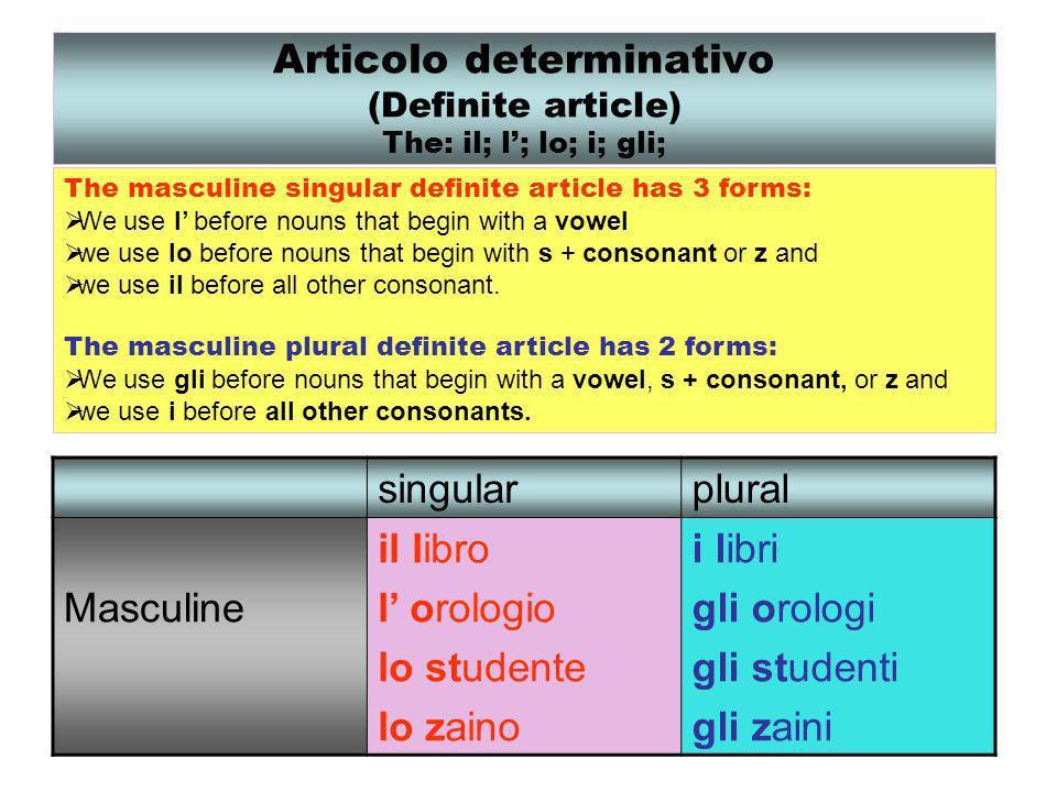 Articolo determinativo (Definite article) The: il; l; lo; i; gli; singularplural Masculine il libro l orologio lo studente lo zaino i libri gli orolog