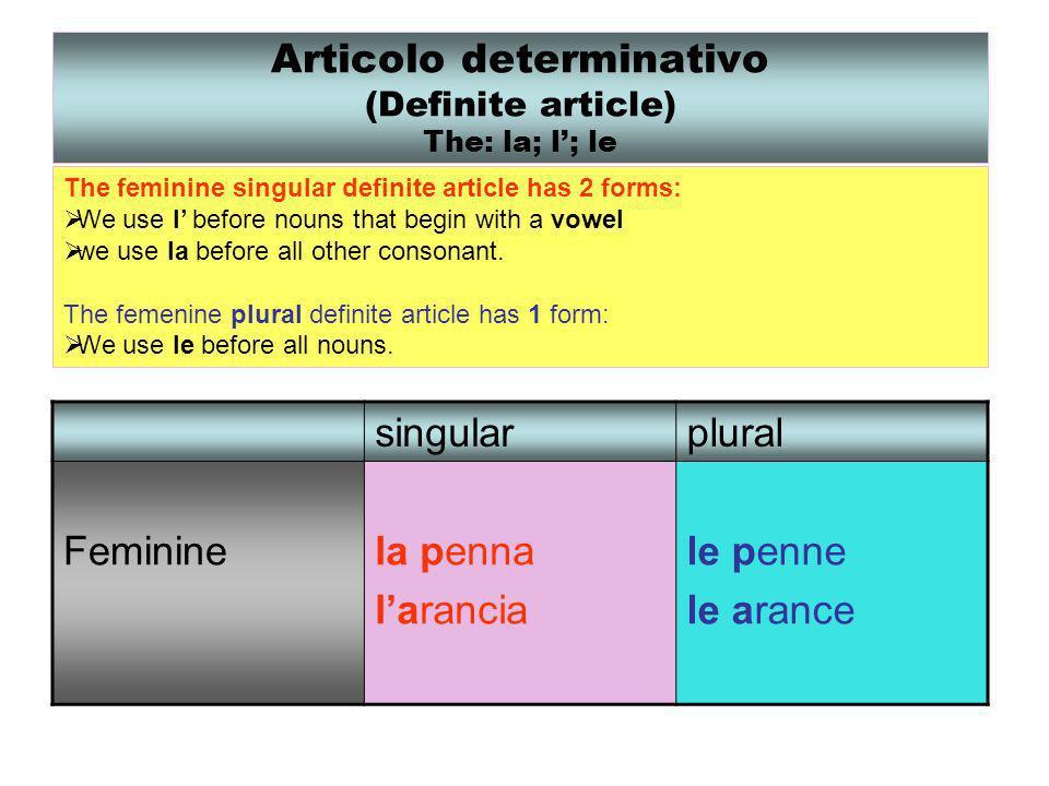 Articolo determinativo (Definite article) The: la; l; le The feminine singular definite article has 2 forms: We use l before nouns that begin with a v