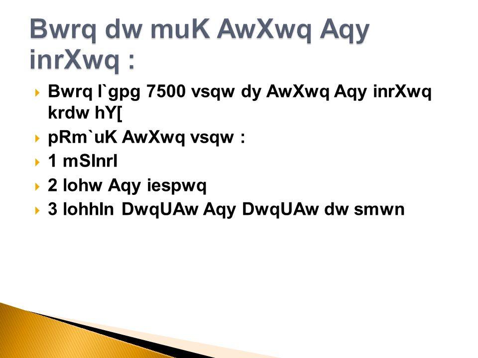 Bwrq l`gpg 7500 vsqw dy AwXwq Aqy inrXwq krdw hY[ pRm`uK AwXwq vsqw : 1 mSInrI 2 lohw Aqy iespwq 3 lohhIn DwqUAw Aqy DwqUAw dw smwn