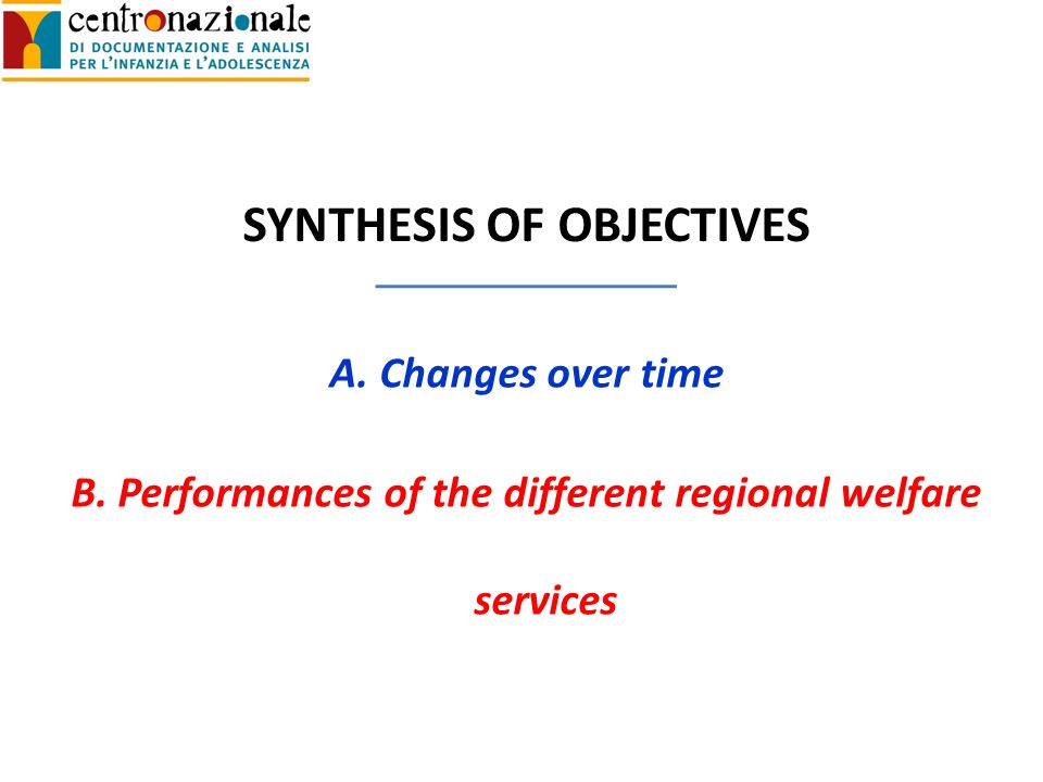 SYNTHESIS OF OBJECTIVES A.Changes over time B.