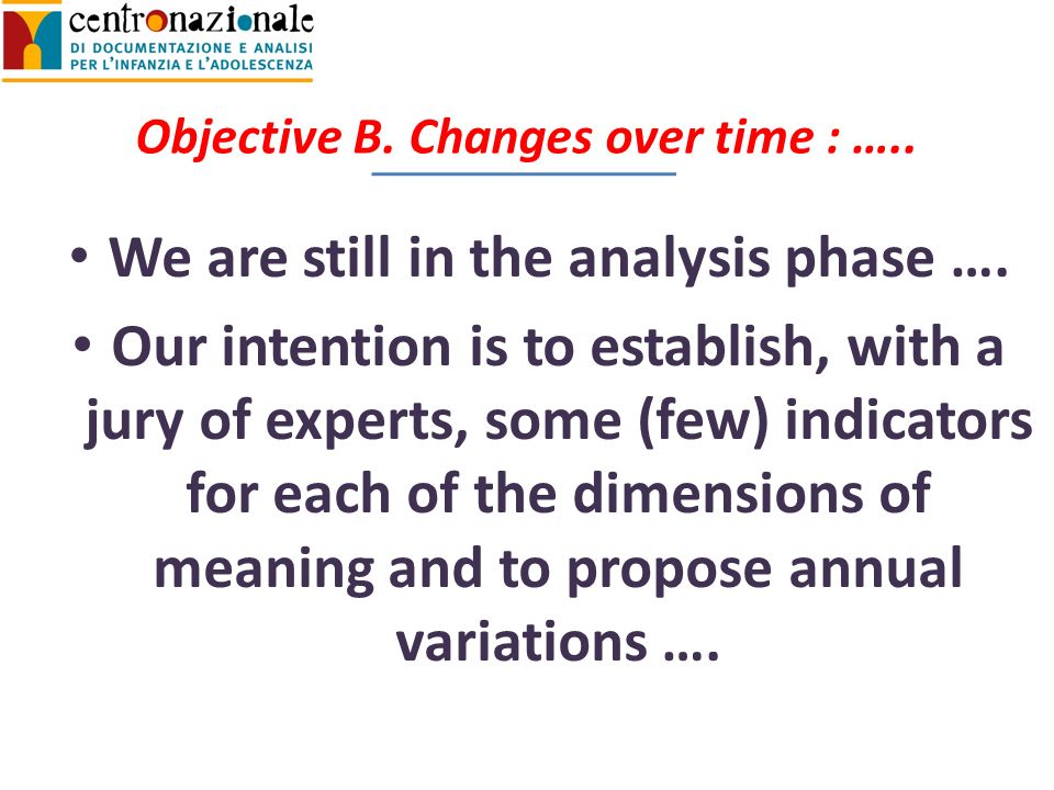 Objective B.Changes over time : ….. We are still in the analysis phase ….