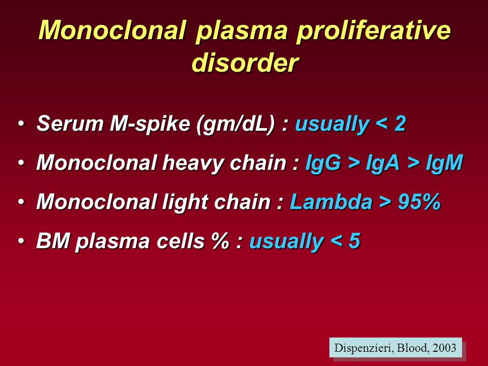 Monoclonal plasma proliferative disorder Serum M-spike (gm/dL) : usually < 2Serum M-spike (gm/dL) : usually < 2 Monoclonal heavy chain : IgG > IgA > I