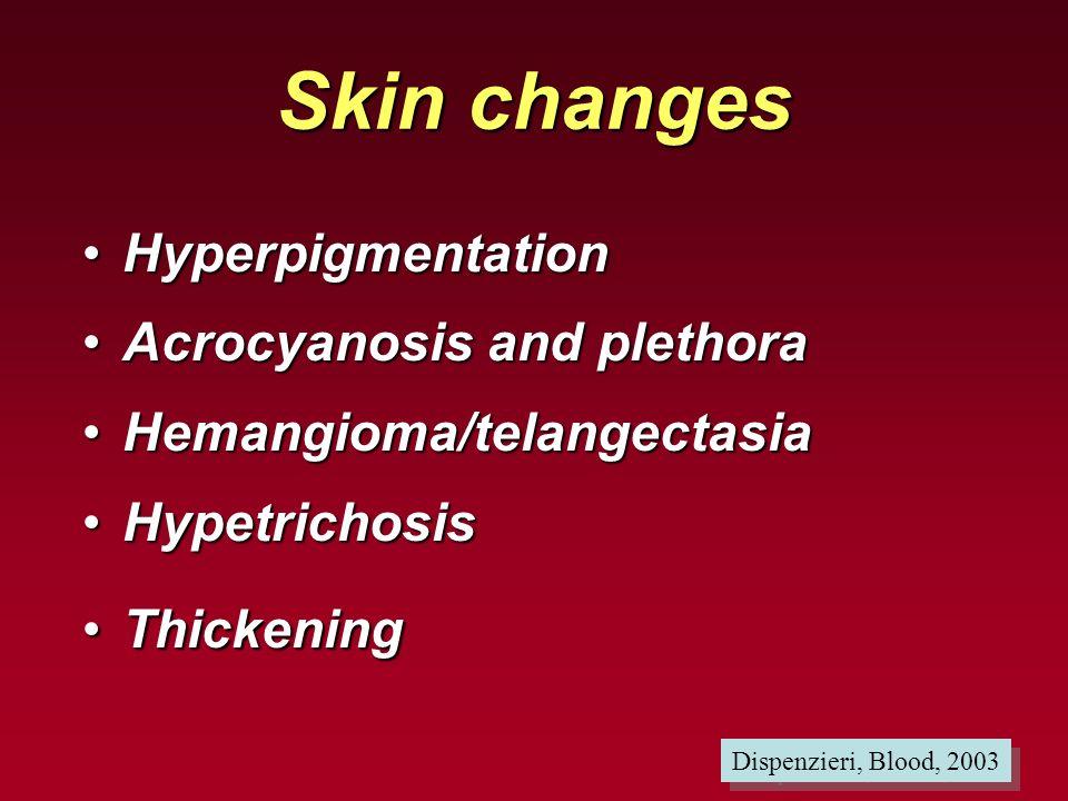 Skin changes HyperpigmentationHyperpigmentation Acrocyanosis and plethoraAcrocyanosis and plethora Hemangioma/telangectasiaHemangioma/telangectasia Hy