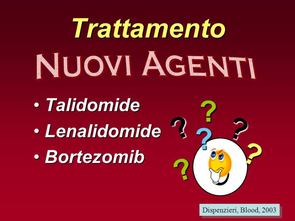 Trattamento TalidomideTalidomide LenalidomideLenalidomide BortezomibBortezomib Dispenzieri, Blood, 2003 ? ? ? ? ? ?
