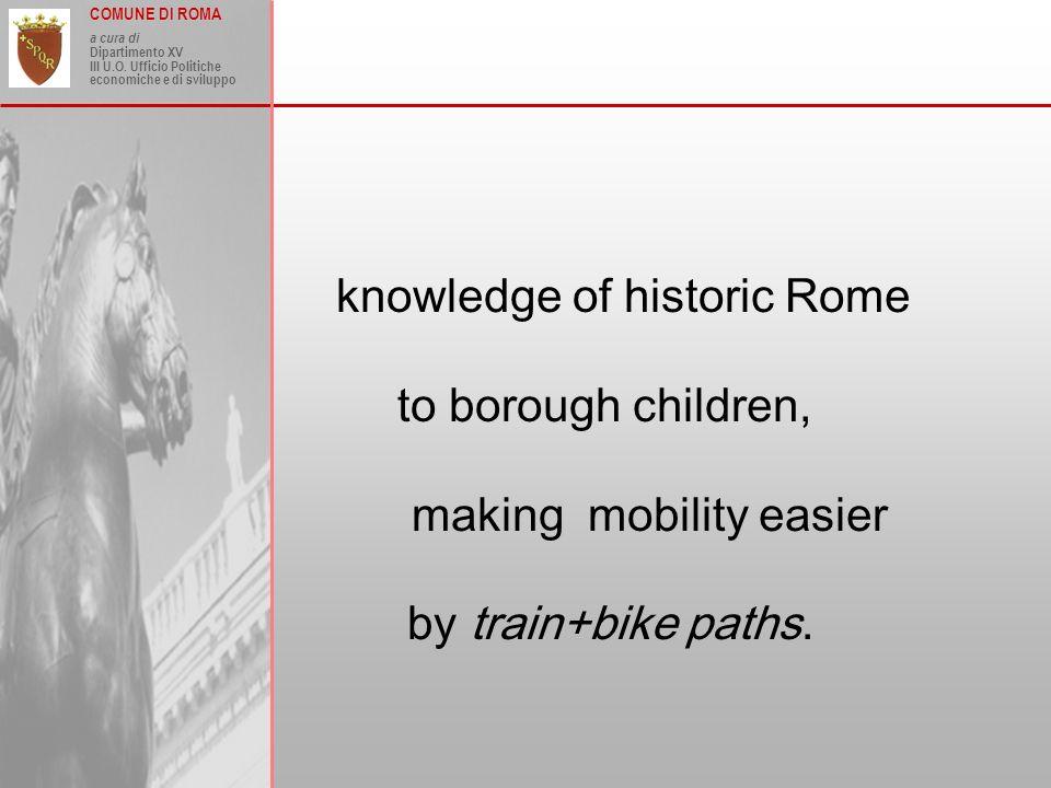 COMUNE DI ROMA a cura di Dipartimento XV III U.O. Ufficio Politiche economiche e di sviluppo knowledge of historic Rome to borough children, making mo