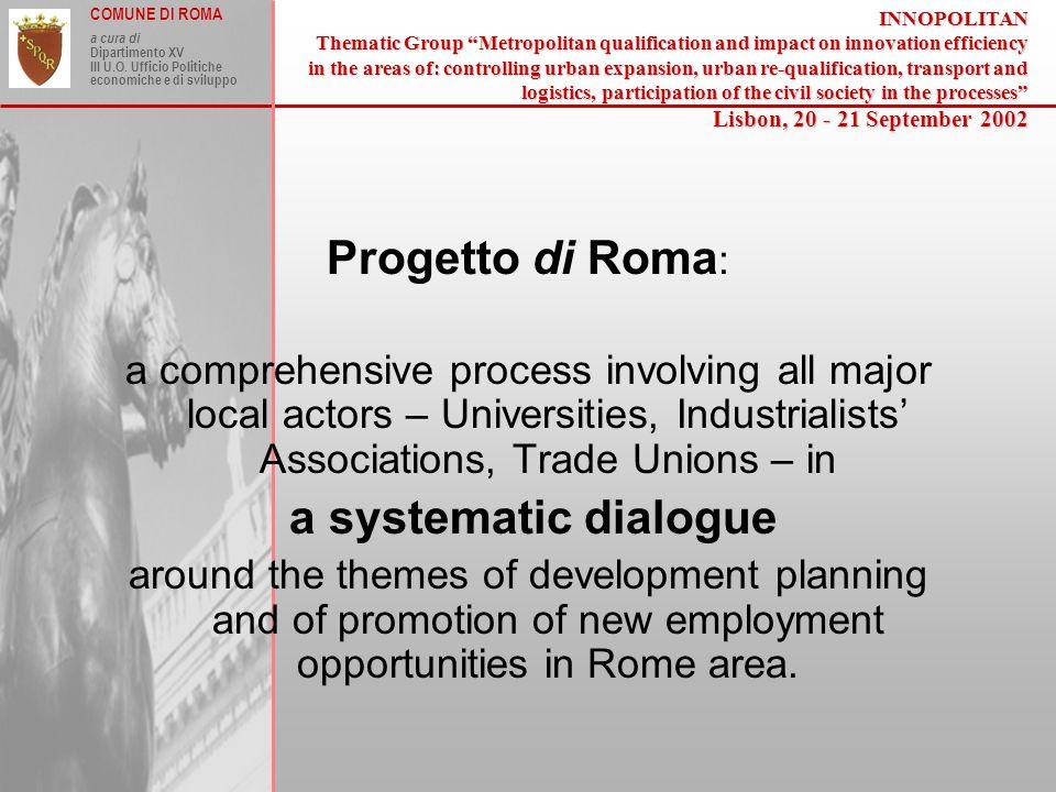COMUNE DI ROMA a cura di Dipartimento XV III U.O. Ufficio Politiche economiche e di sviluppo Progetto di Roma : a comprehensive process involving all