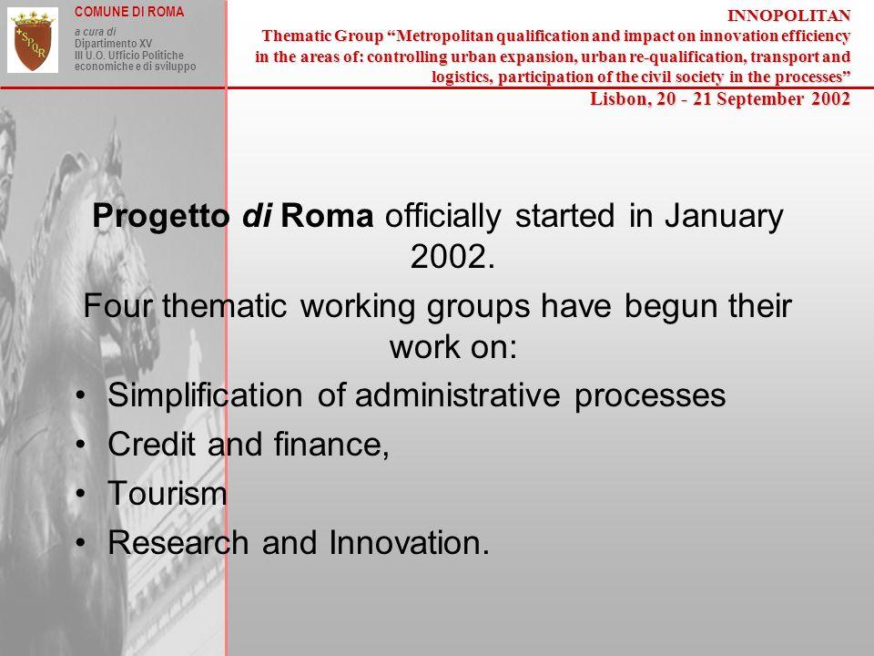 COMUNE DI ROMA a cura di Dipartimento XV III U.O.
