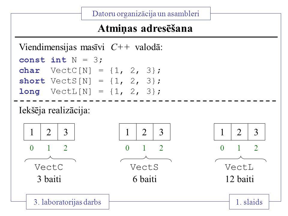 1 1. slaids Datoru organizācija un asambleri 3. laboratorijas darbs Atmiņas adresēšana Viendimensijas masīvi C++ valodā: const int N = 3; char VectC[N