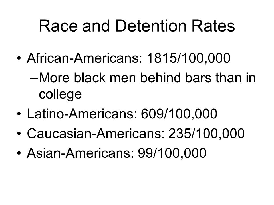 Race and Detention Rates African-Americans: 1815/100,000 –More black men behind bars than in college Latino-Americans: 609/100,000 Caucasian-Americans