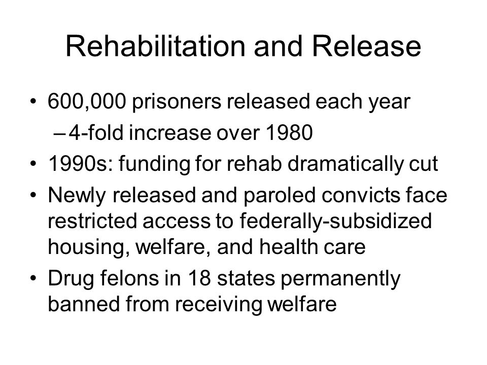 Rehabilitation and Release 600,000 prisoners released each year –4-fold increase over 1980 1990s: funding for rehab dramatically cut Newly released an