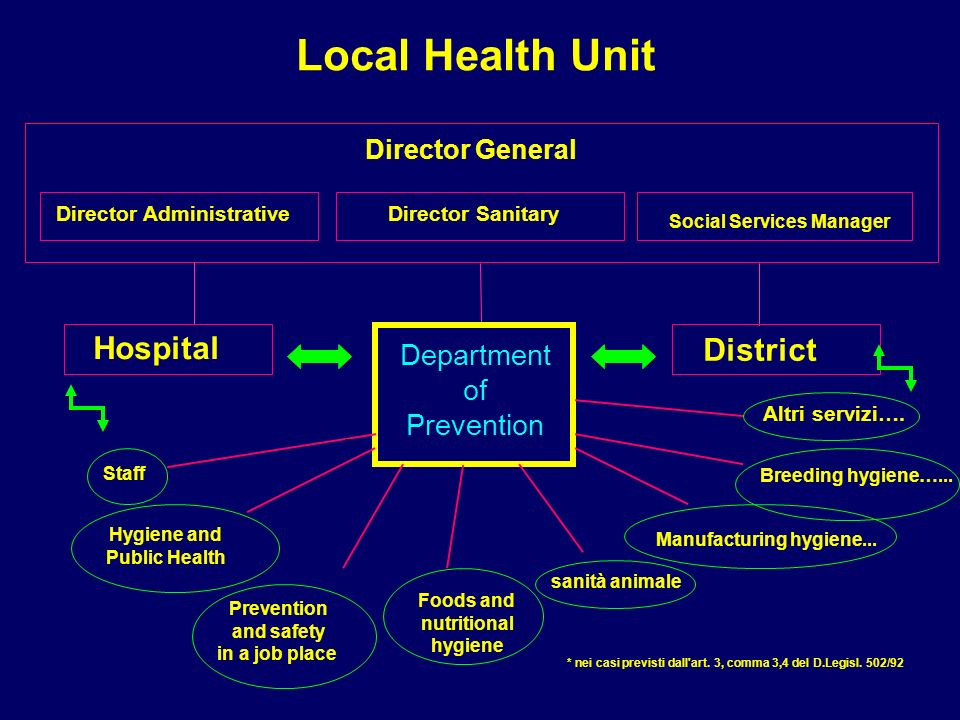 Only the DP can lay out some services National Health System Open market of services in a settled and controlled system Monopoly of Department of Prevention (DP)