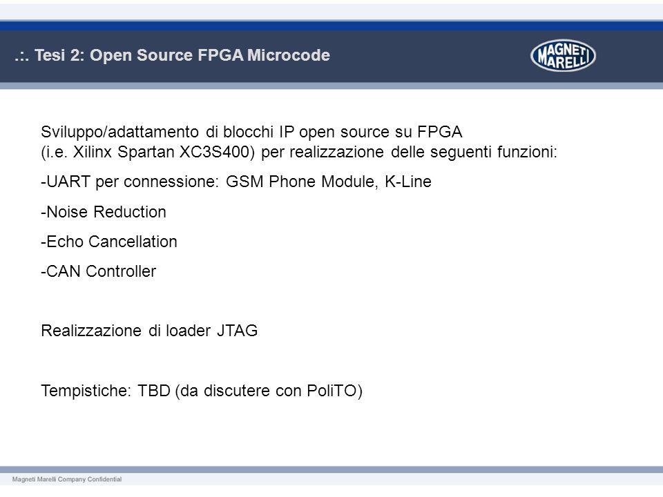.:. Tesi 2: Open Source FPGA Microcode Sviluppo/adattamento di blocchi IP open source su FPGA (i.e. Xilinx Spartan XC3S400) per realizzazione delle se