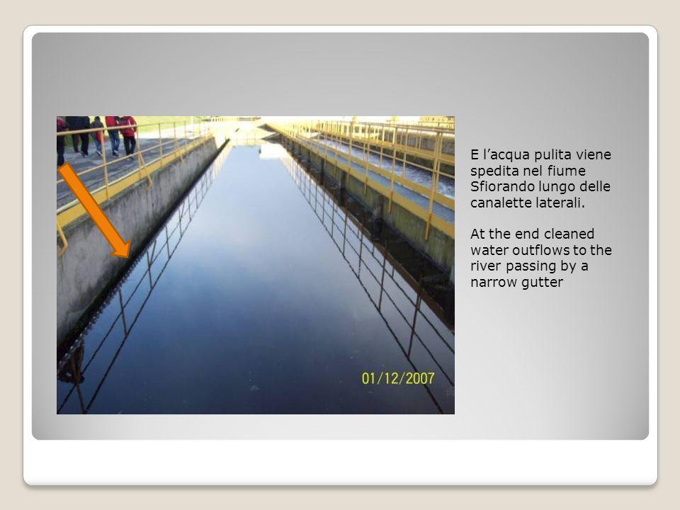 E lacqua pulita viene spedita nel fiume Sfiorando lungo delle canalette laterali.