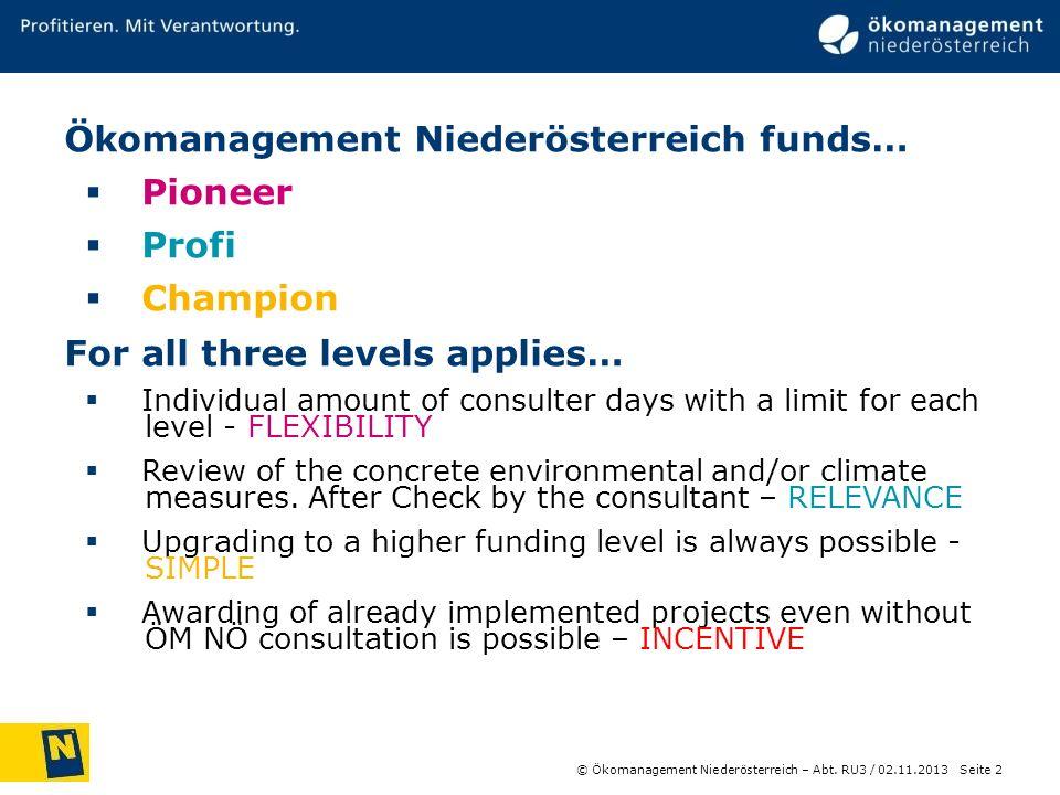 © Ökomanagement Niederösterreich – Abt. RU3 / Seite 2 02.11.2013 Ökomanagement Niederösterreich funds… Pioneer Profi Champion For all three levels app