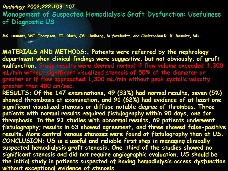 Radiology 2002;222:103-107 Management of Suspected Hemodialysis Graft Dysfunction: Usefulness of Diagnostic US. MC. Dumars, WE. Thompson, EI. Bluth, J