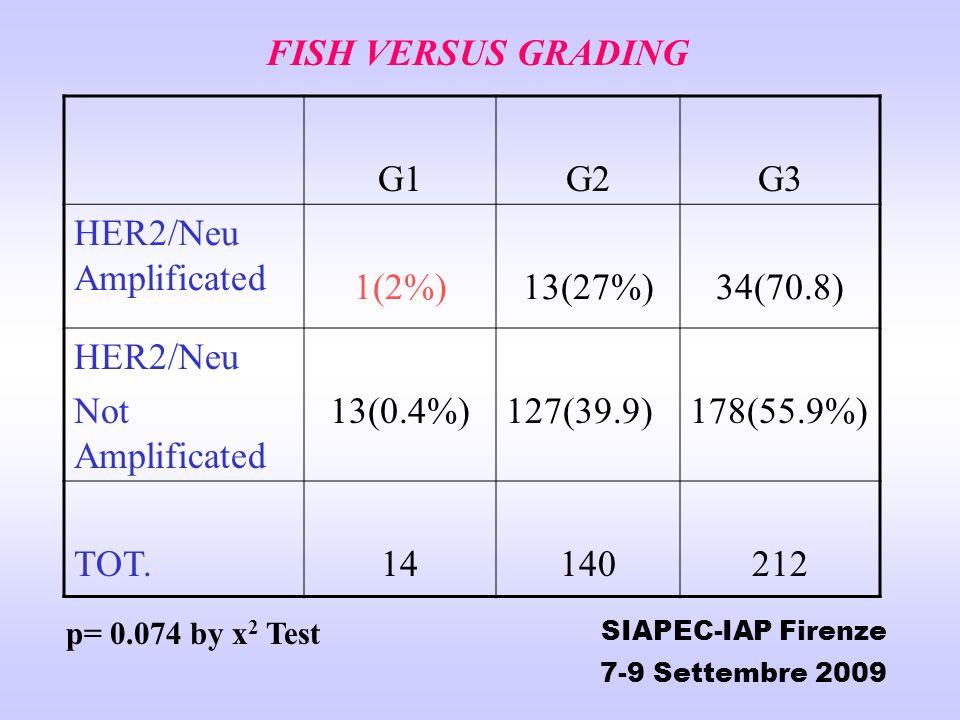 FISH VERSUS GRADING G1G2G3 HER2/Neu Amplificated 1(2%)13(27%)34(70.8) HER2/Neu Not Amplificated 13(0.4%)127(39.9)178(55.9%) TOT.14140212 SIAPEC-IAP Fi