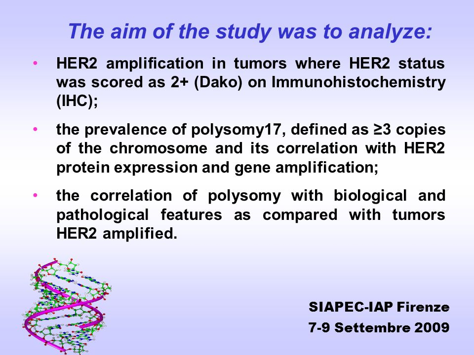 The aim of the study was to analyze: HER2 amplification in tumors where HER2 status was scored as 2+ (Dako) on Immunohistochemistry (IHC); the prevale