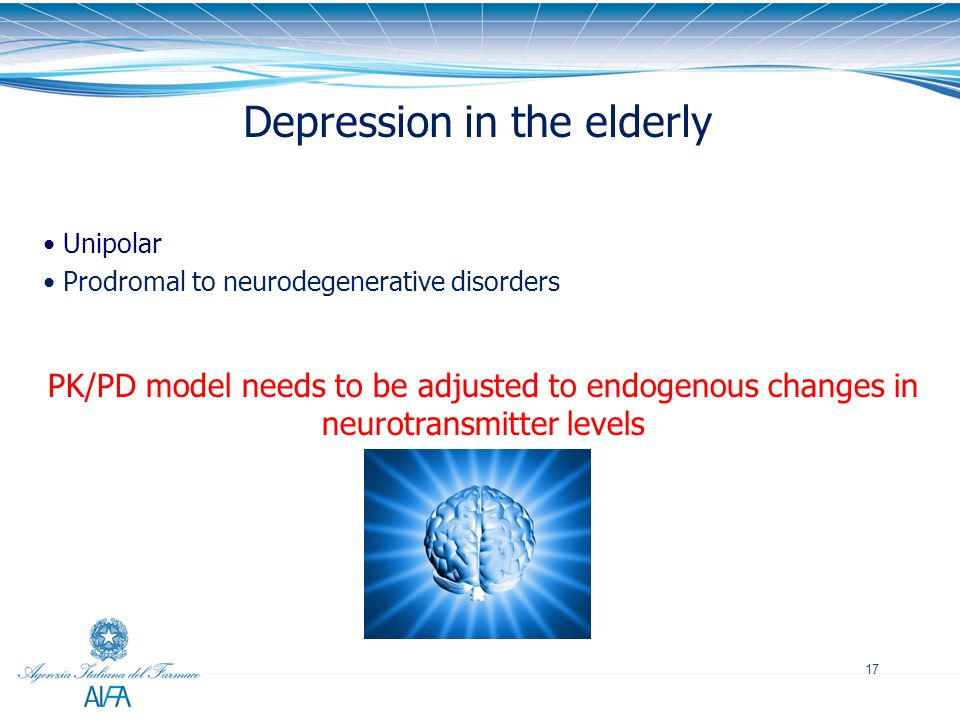 17 Depression in the elderly Unipolar Prodromal to neurodegenerative disorders PK/PD model needs to be adjusted to endogenous changes in neurotransmit