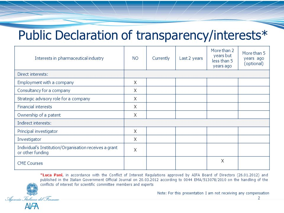 2 Public Declaration of transparency/interests* Note: For this presentation I am not receiving any compensation *Luca Pani, in accordance with the Con