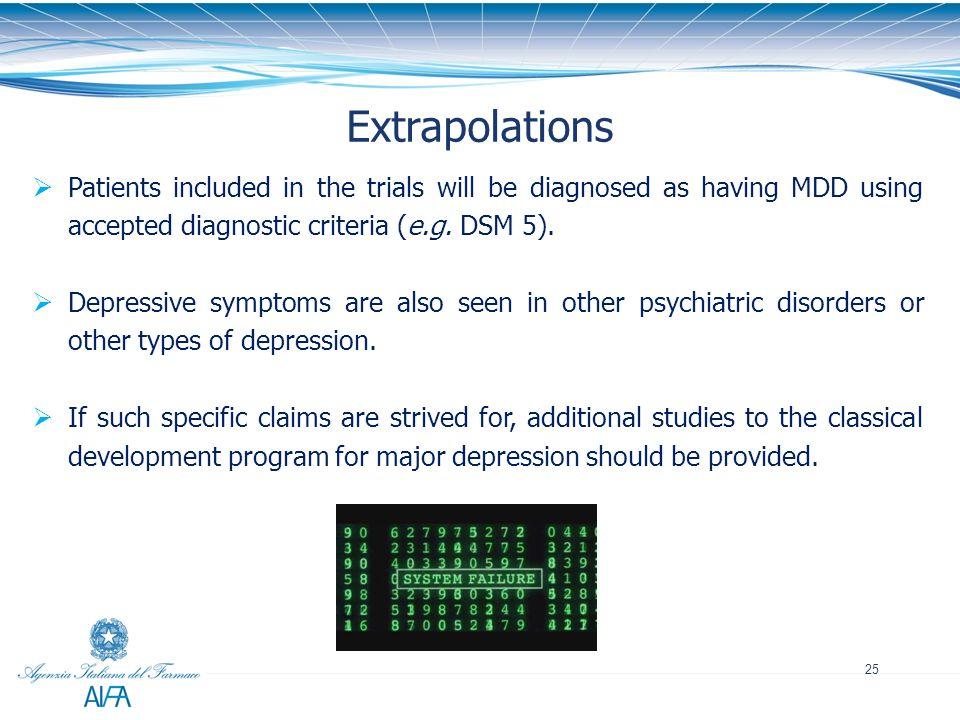25 Extrapolations Patients included in the trials will be diagnosed as having MDD using accepted diagnostic criteria (e.g. DSM 5). Depressive symptoms