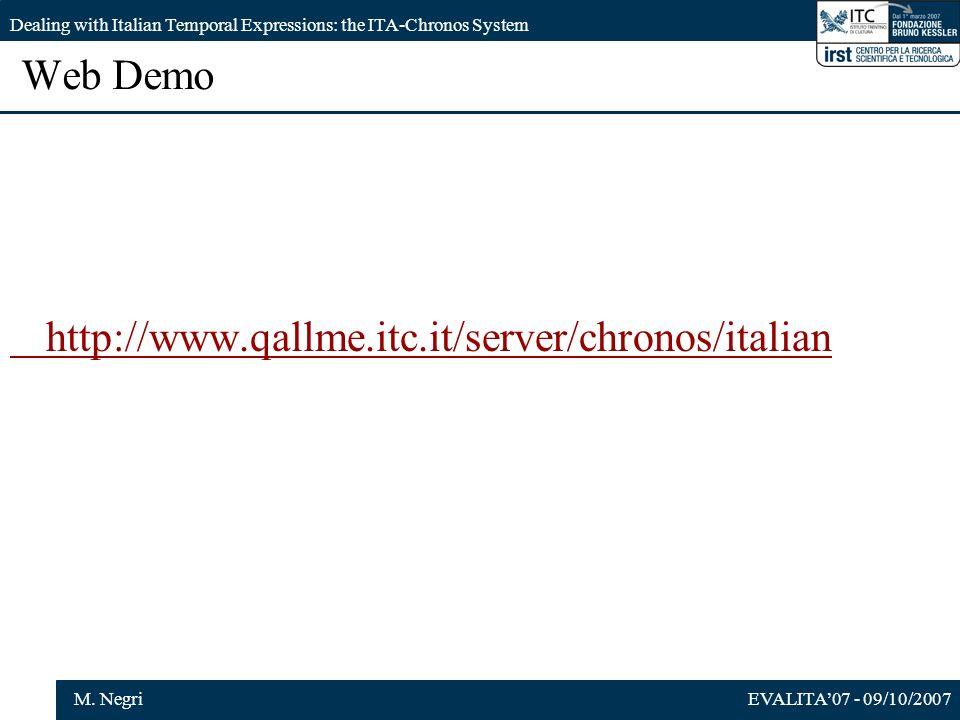 EVALITA07 - 09/10/2007M. Negri Dealing with Italian Temporal Expressions: the ITA-Chronos System Web Demo http://www.qallme.itc.it/server/chronos/ital