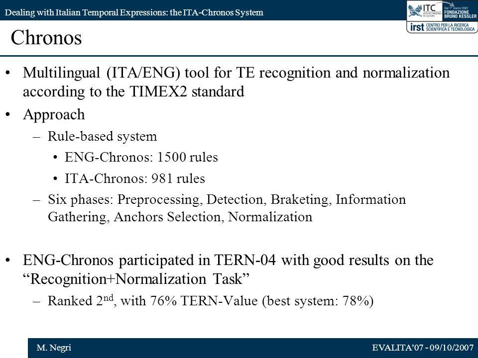 EVALITA07 - 09/10/2007M. Negri Dealing with Italian Temporal Expressions: the ITA-Chronos System Chronos Multilingual (ITA/ENG) tool for TE recognitio