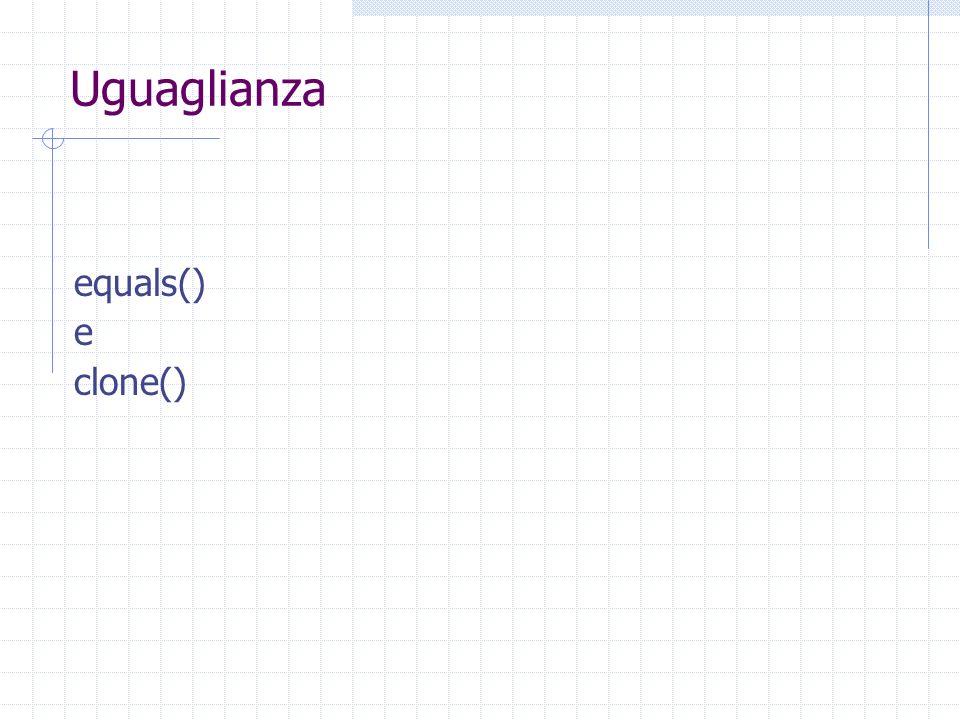 Uguaglianza equals() e clone()