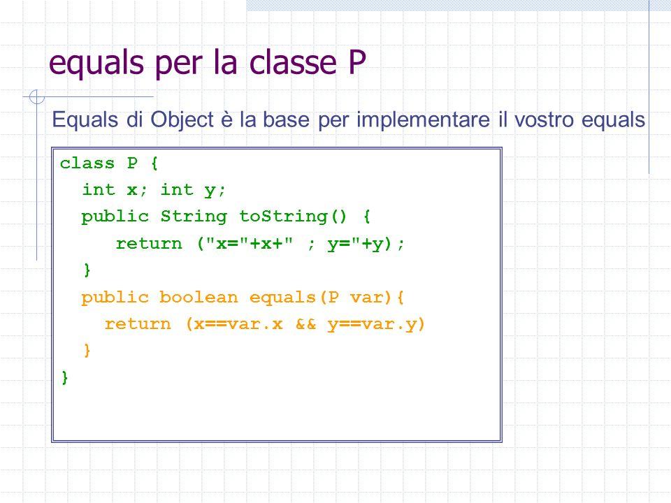 equals per la classe P class P { int x; int y; public String toString() { return (
