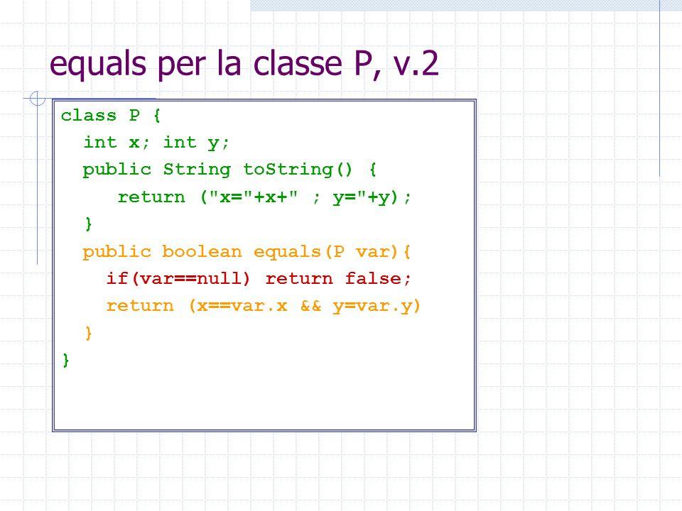 equals per la classe P, v.2 class P { int x; int y; public String toString() { return (