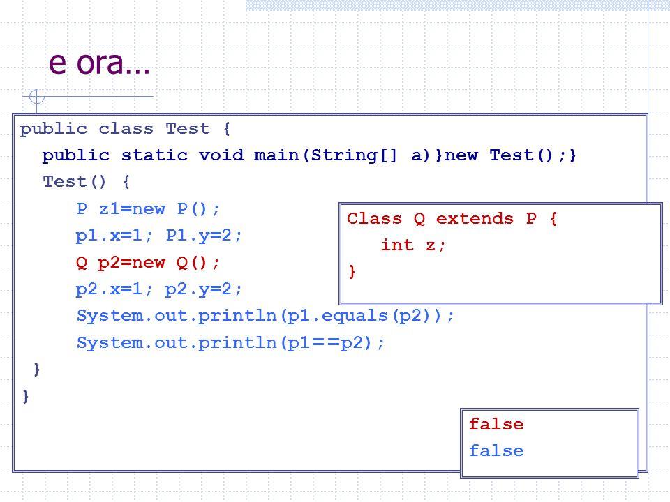 e ora… public class Test { public static void main(String[] a)}new Test();} Test() { P z1=new P(); p1.x=1; P1.y=2; Q p2=new Q(); p2.x=1; p2.y=2; Syste