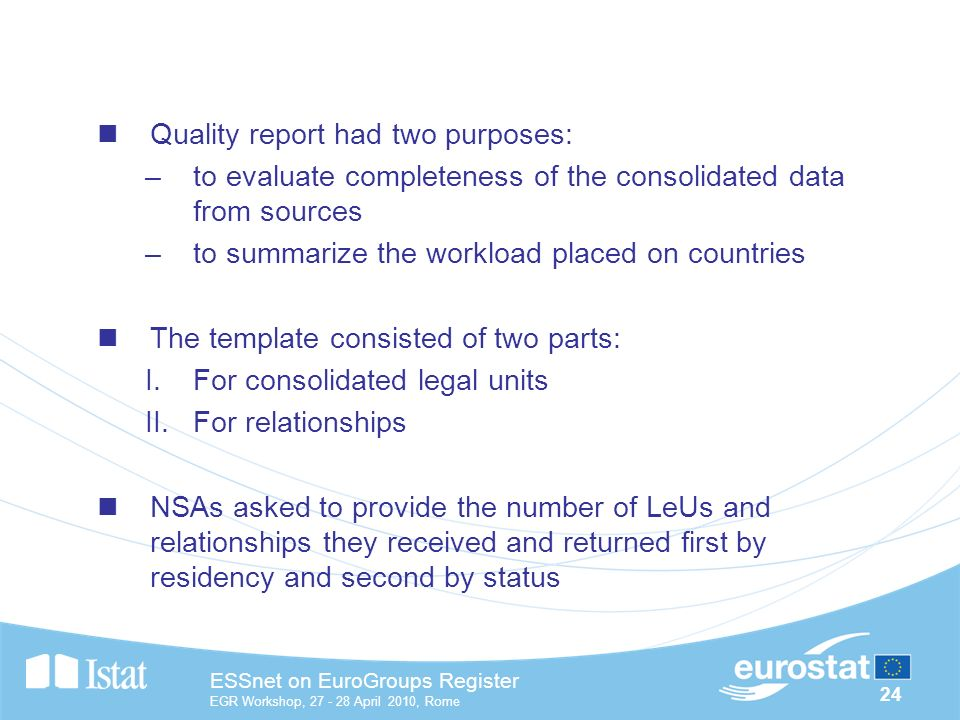 24 ESSnet on EuroGroups Register EGR Workshop, April 2010, Rome Quality report had two purposes: –to evaluate completeness of the consolidated data from sources –to summarize the workload placed on countries The template consisted of two parts: I.For consolidated legal units II.For relationships NSAs asked to provide the number of LeUs and relationships they received and returned first by residency and second by status