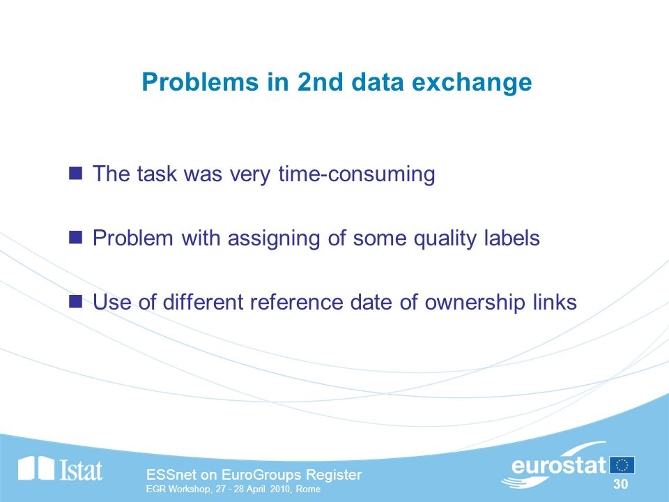 30 ESSnet on EuroGroups Register EGR Workshop, April 2010, Rome Problems in 2nd data exchange The task was very time-consuming Problem with assigning of some quality labels Use of different reference date of ownership links