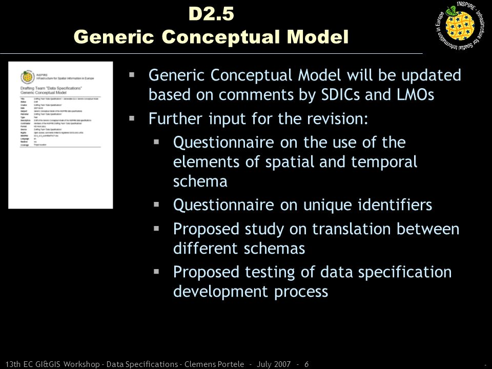 - 13th EC GI&GIS Workshop - Data Specifications - Clemens Portele - July 2007 - 6 D2.5 Generic Conceptual Model Generic Conceptual Model will be updat