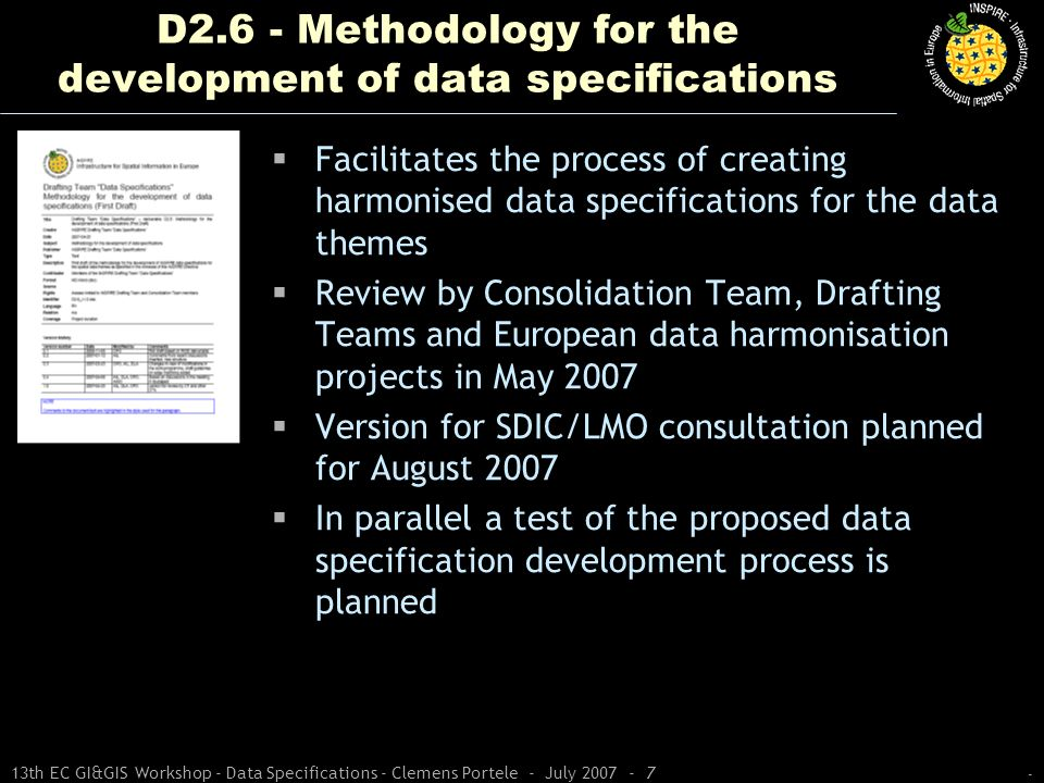 - 13th EC GI&GIS Workshop - Data Specifications - Clemens Portele - July 2007 - 7 D2.6 - Methodology for the development of data specifications Facili
