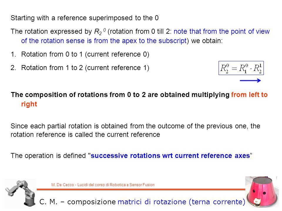 M. De Cecco - Lucidi del corso di Robotica e Sensor Fusion C. M. – composizione matrici di rotazione (terna corrente) Starting with a reference superi