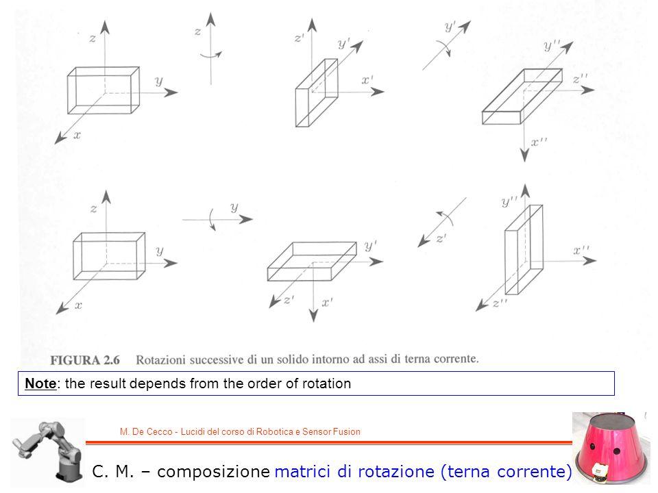 M. De Cecco - Lucidi del corso di Robotica e Sensor Fusion Note: the result depends from the order of rotation C. M. – composizione matrici di rotazio
